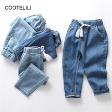 COOTELILI Kids Jeans for Girls Boys Jeans for Girls soft Summer Spring Pants Casual Loose Blue Trousers Jeans Children Jeans