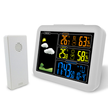 Wireless Weather Station Indoor Outdoor Sensor Thermometer Hygrometer Digital Alarm Clock Barometer Forecast Color
