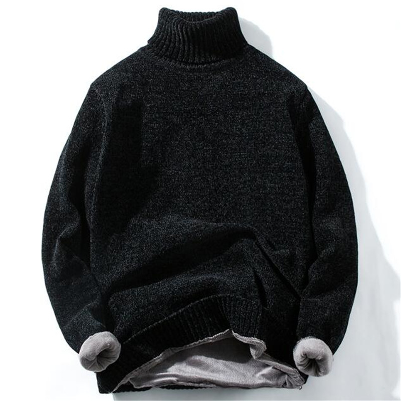 2019 High Quality Warm Turtleneck Sweater Men Fashion Solid Striped Knitted Mens Sweaters Casual Slim Pullover Male Warm