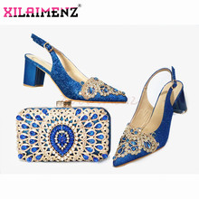 2020 New Design Pointed Tole Italian Women Shoes and Bag Set in Blue Color Slingbacks Sandals Nigeran Lady Shoes Matching Bag(China)