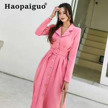 Big Swing Pink Blazer Dress Women Long Sleeve Singer Button Autumn with Sashes Solid OL Office Work Dresses Winter