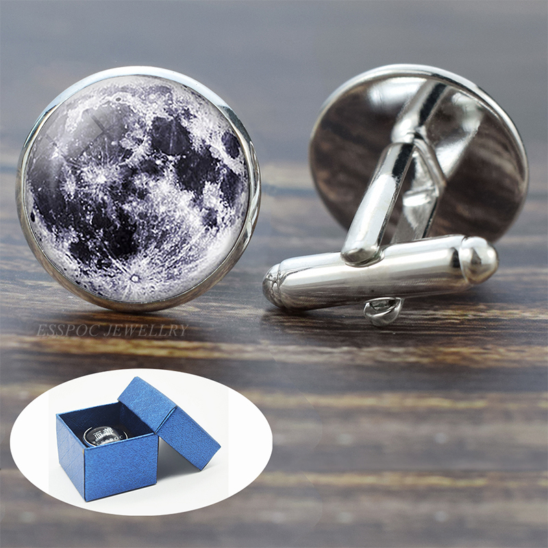 Full Moon Solar System Planet For Men Cufflinks Set Galaxy Nebula Earth Sun Jupiter Jewelry Suit Shirt Silver Cuff Links Gift
