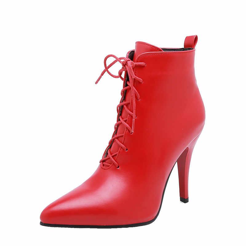 ASUMER PLUS ขนาด 34-48 รองเท้าแฟชั่น pointed Toe Lace Up รองเท้าฤดูใบไม้ร่วงฤดูหนาวสุภาพสตรี PROM รองเท้าผู้หญิง 2020 ใหม่