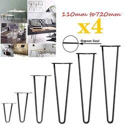 4 Uds patas de mesa de Metal horquilla muebles patas de acero estilo Industrial agujeros preperforados para una fácil instalación, 415mm