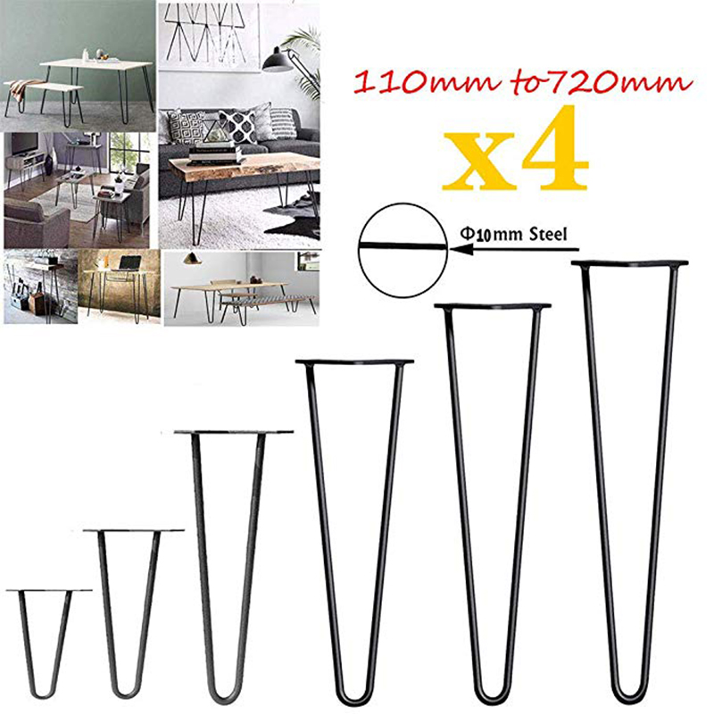 4Pcs Table Legs Metal Table Legs Hairpin Furniture Leg Industrial Style Steel Pre-Drilled Holes For Easy Installation,415mm