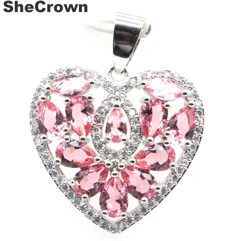 31x24mm New Arrival Heart Shape Created Pink Tourmaline CZ Gift Silver Pendant