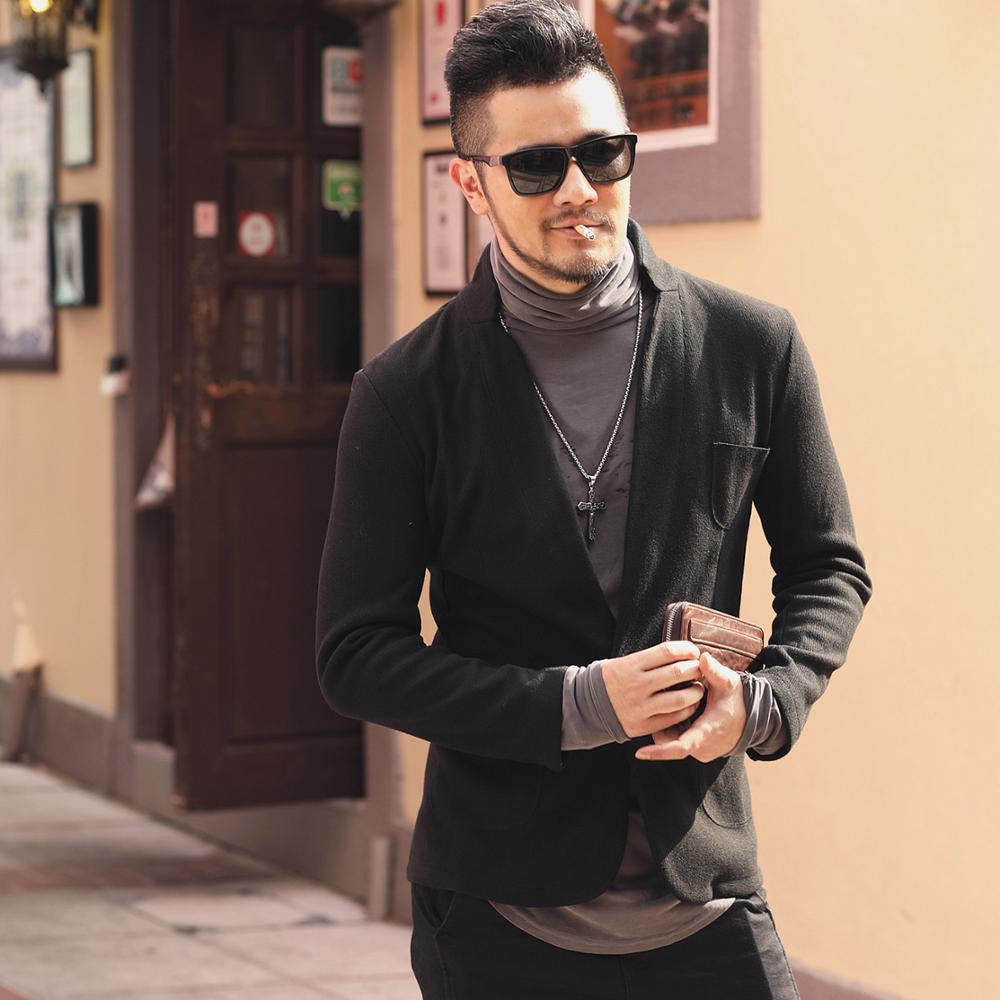 Mens New Arrival Winter Autum Slim Grey Woolen Casual Cotton Suit Metrosexual Men Blazer  Brand Design Fashion Suit Jacket