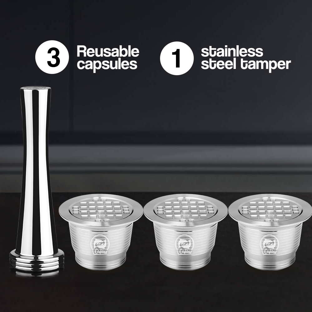 4PC/Set Nespresso Stainless Steel Refillable Coffee Capsule New Version Tamper Reusable Coffee Filt Pod Birthday Coffeeware Gift