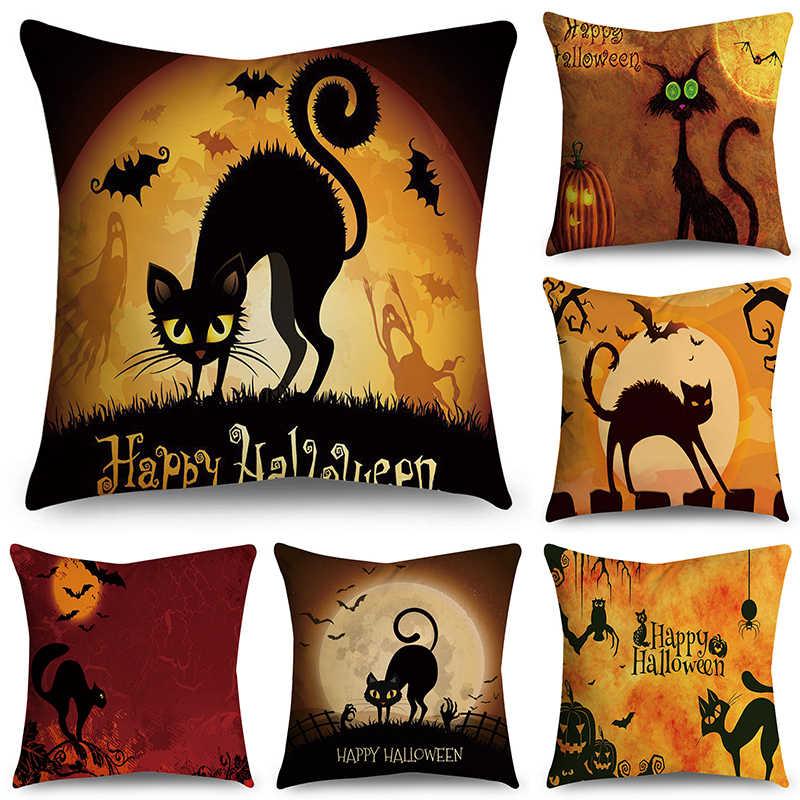 Decoratieve 45X45 Cm Halloween Kat Dier Kussenhoes Polyester Geometrische Woondecoratie Sofa Stoel Kussensloop