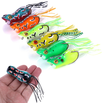 1pc 5cm 12g Soft Ray Frog Fishing Lures Isca Artificial Hooks Popper Wobblers Bait Carp Fishing Pesca Fishing Tackle image