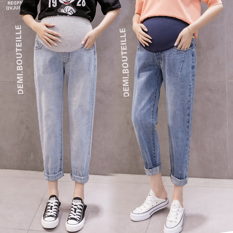 8909# Autumn Korean Fashion Denim Maternity Straight Jeans Adjustable Belly Pants Clothes for Pregnant Women Pregnancy Trousers