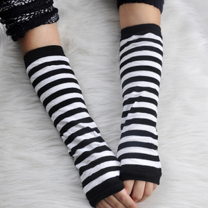 Women Long Sleeve Striped Fingerless Gloves Ladies Stretchy Soft Knitted Wrist Arm Warmer