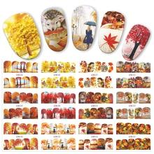 12 Chiếc Chuyển Nước Móng Tay Nghệ Thuật Dán Lá Mùa Thu Vàng Lá Phong Đỏ Nhãn Dán Móng Tay Đề Can Đeo Decors JIBN505 516