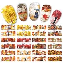 12 sztuk woda Transfer naklejki do paznokci jesienne liście żółty czerwony liść klonu etykiety naklejki kalkomanie do paznokci okłady dekory JIBN505 516