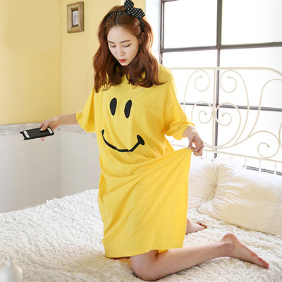 2019 Summer New Style Cute Smiley Skirt Mid-length Loose-Fit Slimming Dress Household Pajamas T-shirt Women's Fashion