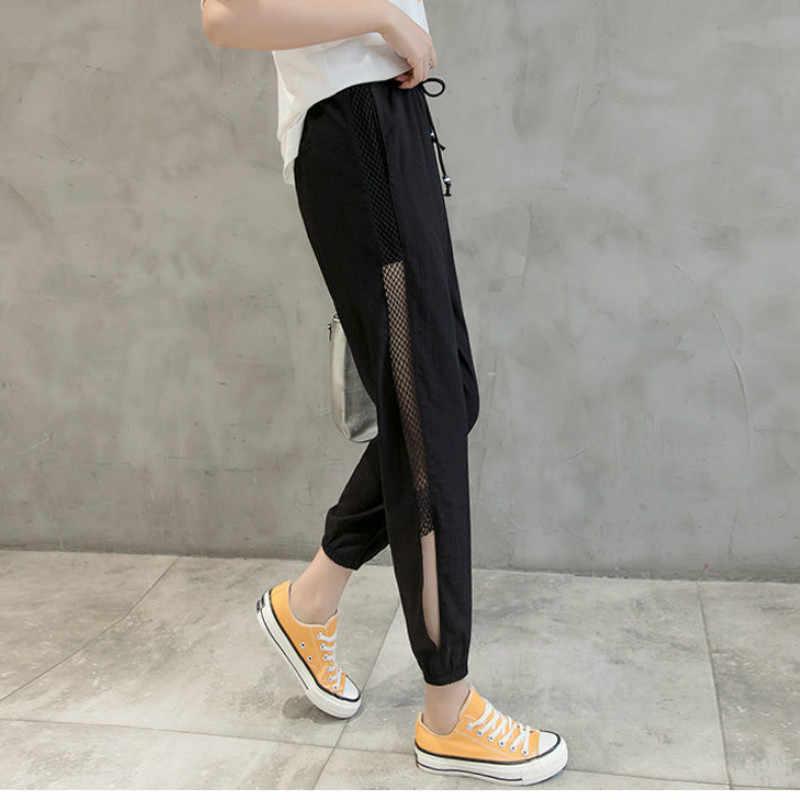 2020 yaz kadın yeni Joggers Harem pantolon Patchwork Mesh şeffaf kadın pantolon yüksek bel gevşek rahat Hip Hop pantolon FY85
