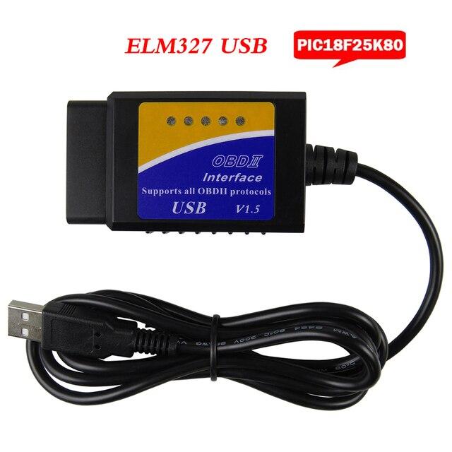 Elm327 USB OBD2 Xe Giao Diện Chẩn Đoán Dụng Cụ V1.5 ELM 327 V 1.5 OBD 2 ELM 327 Mã Quét PIC18F25K80 chip Máy Quét Chẩn Đoán