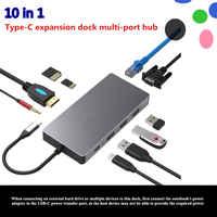 10-en-1 station d'extension USB USB3.0 SD TF HDMI VGA 3.5mm interface audio Ethernet pour huawei xiaomi Macbook mate 10 P20 pro hub-c