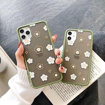 ICASSBY flores funda de teléfono para iPhone 11 Pro X XR XS Max 7 7 6 6S Plus SE 2020 crisantemo Floral suave de silicona TPU cubierta