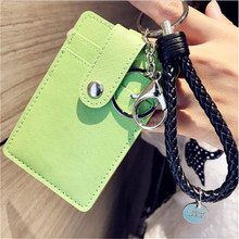1Pc PU Leather KPOP Three-card Multi-bit Card Holder with Snap Button Bus Pass Card Set ID Bank Card Holder Case Cover Keychain(China)