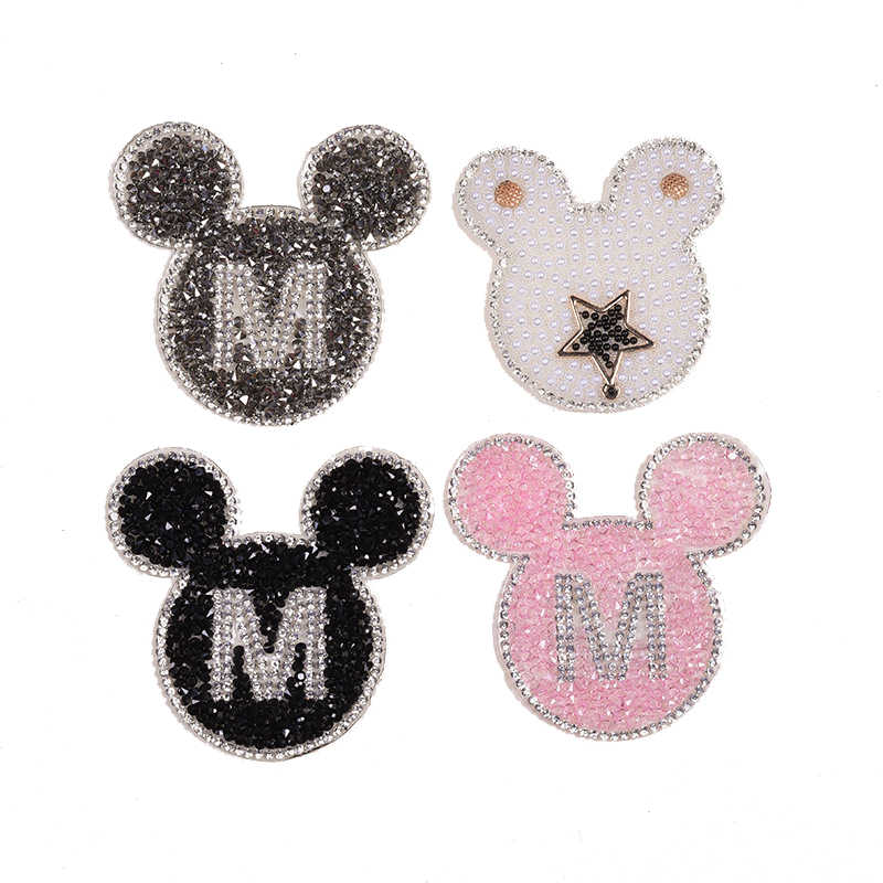 1pcs Sparkling Rhinestone Cartoon animal Pattern Clothes Patches Fashion Sequined DIY Appliques Bling Iron-on Patches