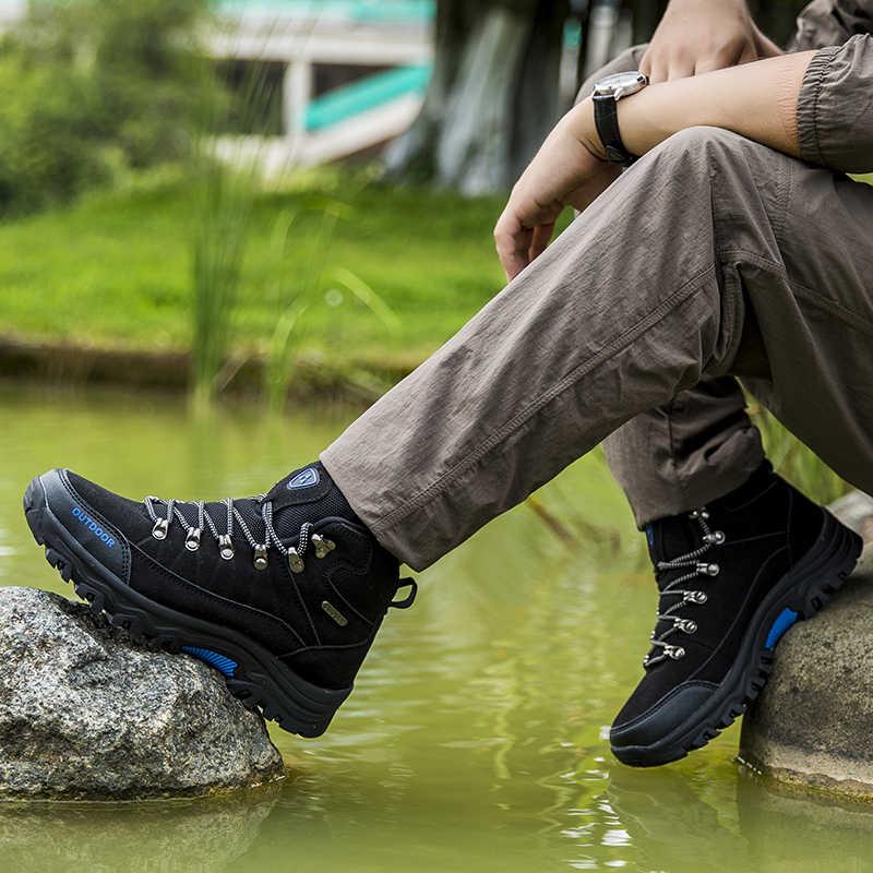 Męskie buty górskie wodoodporne męskie sporty outdoorowe turystyka buty do wspinaczki skórzane buty do wędrówek górskich buty myśliwskie trampki