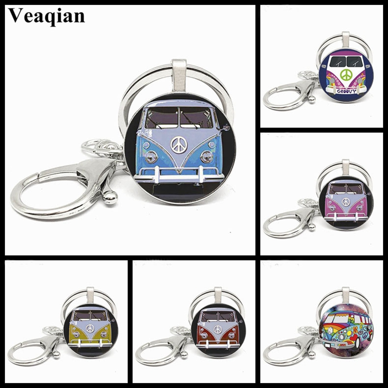 Exquisite Glass Crystal Concave Hippie Peace Sign Van Bus Men Keychain High Quality Pendant Car Keychain Jewelry