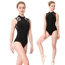 Taniec baletowy trykoty damskie 2020 nowy stylowy nadruk Zipper gimnastyka strój do tańca dorosły wysoki kołnierz trykot baletowy