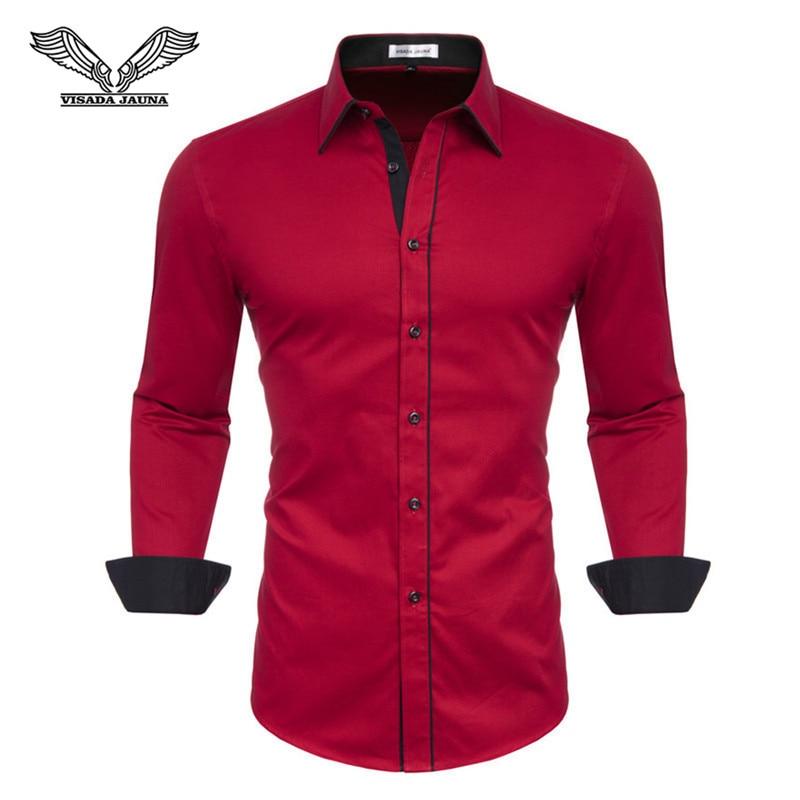 VISADA JUANA 2019 Men's Shirts Slim Fit Men's Casual Shirts Long Sleeve Solid Dress Shirts Men Clothes Y60