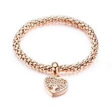 Rose Gold Color Hollow Tree of Life CZ Bangle Bracelet For Women Trendy Stainless Steel Cuff Hand Jewelry Gift Dropshipping hollow tree of life stainless steel colorful earrings