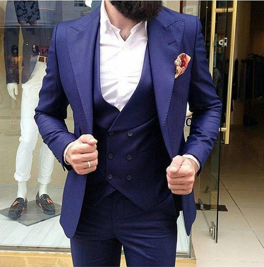 Navy Blue Men Wedding Suits Slim Fit 3 Piece Tuxedo Custom Groom Suit Prom Blazer Terno Masculino Jacket+Pants+Vest