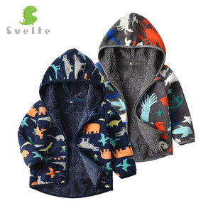 Image 3 - SVELTE for 2 7 Yrs Kid and Toddler Boy Lining Fur Fleece Hoodies Jackets Fluffy Sweatshirts Boy Clothes Printed Coats for Winter