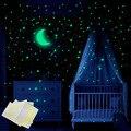 338 шт. светящиеся наклейки Звездная Луна DIY настенные наклейки декор для детской комнаты гостиной светящиеся звезды в темноте флуоресцентна...