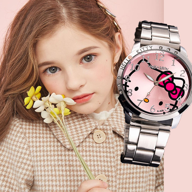 Hello Kitty Kids Watches Waterproof Cartoon Children Watches For Girls Cute Big Dial Quartz Clock Relogio Infantil Menina Lovely