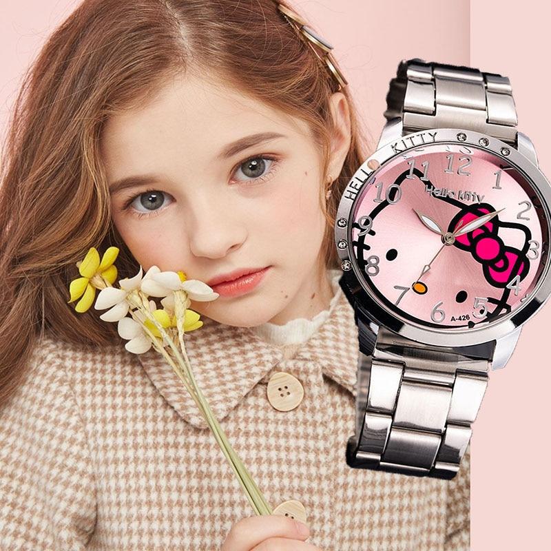 Hello Kitty Kids Watches Waterproof Cartoon Children Watches For Girls Cute Big Dial Quartz Clock Relogio Infantil Menina Lovely