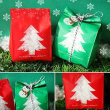 Behogar 50PCS Cute Lovely Merry Christmas Candy Cookies Snack Gift Bag for Home