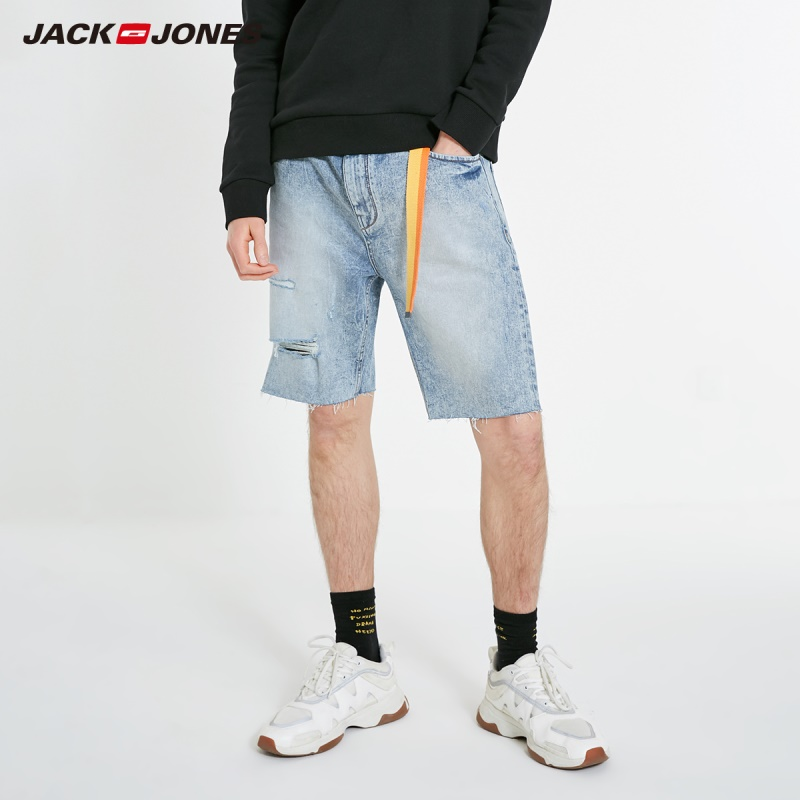 JackJones Men's Stretch Cotton Washed Ripped Denim Shorts Menswear| 219143510