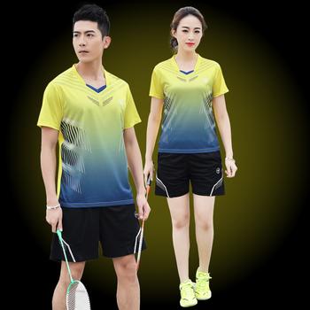 Nowa koszulka do badmintona sportowa koszulka do gry w tenisa kobiety mężczyźni koszulka do ćwiczeń Qucik dry koszulka do gry w tenisa sportowego s odzież tenisowa tanie i dobre opinie wsryxxsc Poliester spandex Krótki Koszule Denim table tennis Badminton Pasuje prawda na wymiar weź swój normalny rozmiar