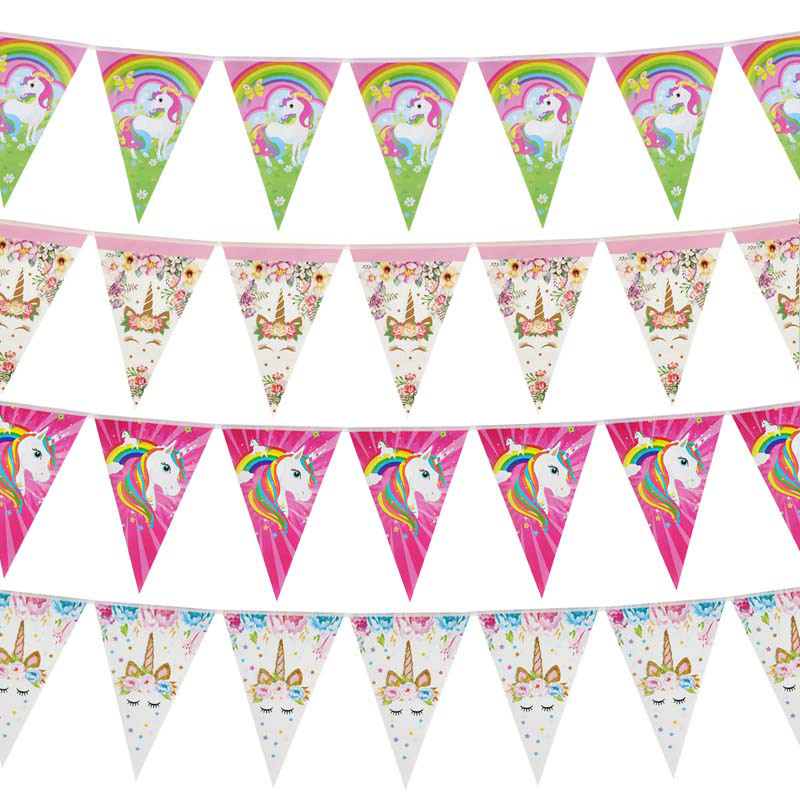 Papel Unicórnio 1st Birthday Banner Feliz Aniversário Decorações Do Partido Crianças Pequena Sereia Bandeira Garland Bandeira de Casamento Do Chuveiro de Bebê