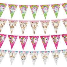 Бумажный баннер в виде единорога на первый день рождения, украшение для вечеринки в честь Дня Рождения, детский флаг Русалочки, баннер для вечеринки в честь рождения ребенка, свадебная гирлянда