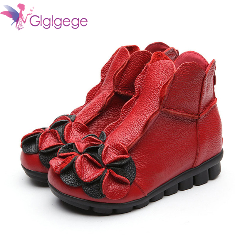 Cheap Glglgege Winter New Fashion Women Shoes Woman Flower Genuine Leather Ankle Boots Female Casual Soft Platform Vintage Ladies Boot