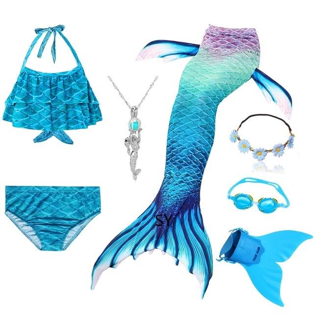 Hot Girls Swimming Mermaid Tail Cosplay Mermaid Costume Swimsuit With or No Monofin Fin Flipper Kids Swimmable Children Swimwear