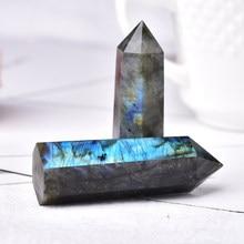 1pc natural labradorite pedra de cristal ponto cura pedra prismas hexagonais reiki obelisco torre de quartzo decoração para casa presente diy