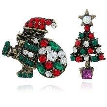Vintage Cute Rhinestone Boots Wreath Pin Badge Full Rhinestone Christmas Santa Tree brooch Badge Holder Christmas Jewelry cute rhinestone christmas hat cat christmas stocking brooch