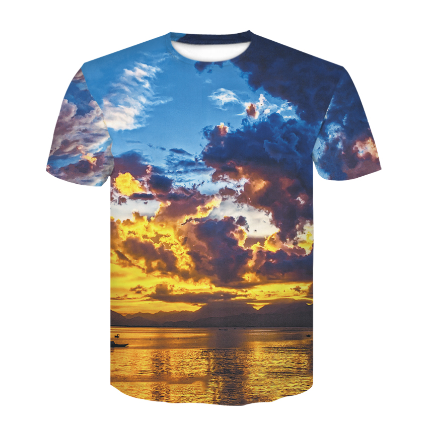 The trend of 2020 is 3D printing sunset glow short-sleeved casual t-shirts for men and women in summer comfortable short-sleeved