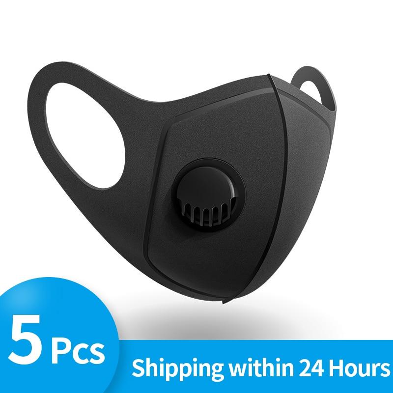 5Pcs Anti Dust Mask PM2.5 Breathing Filter Valve Face Mouth Masks Reusable Mouth Cover Anti Fog Haze Respirator For Men Women