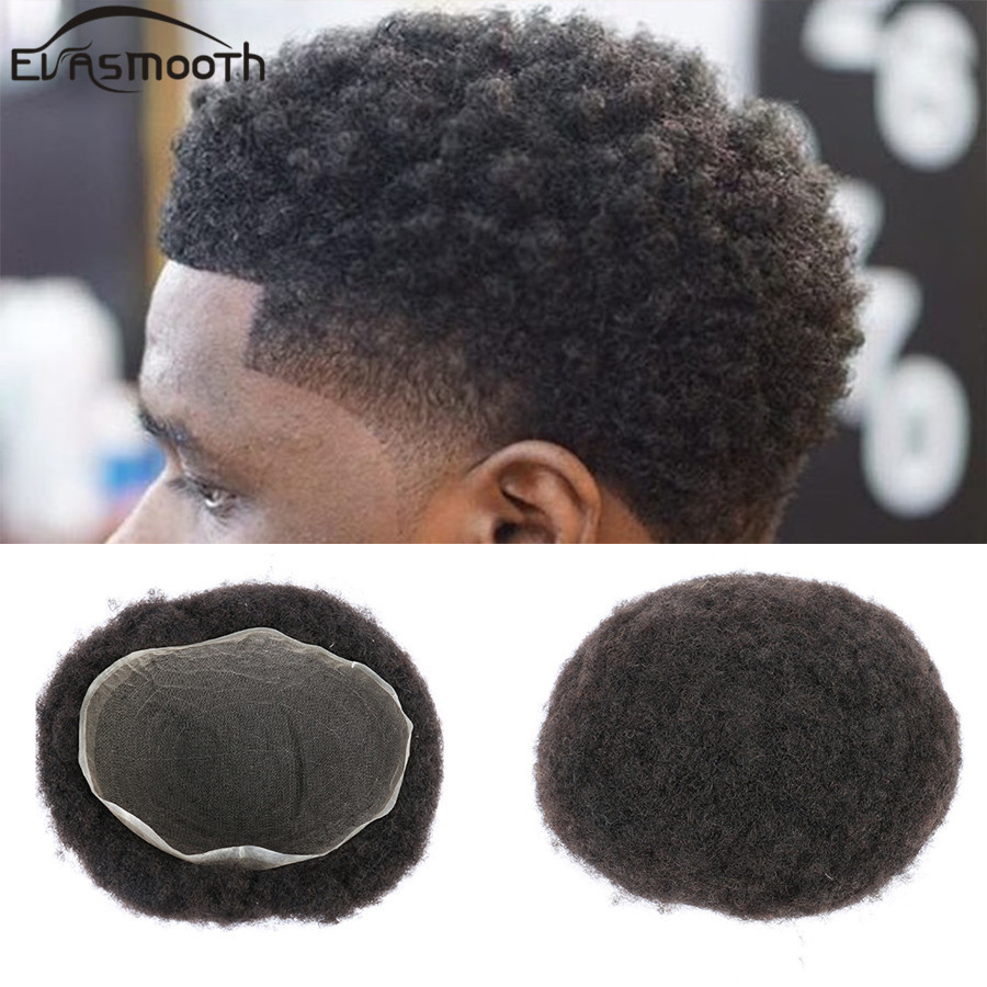 Full Lace Humana Masculina Men Toupee Human Hair Wigs Afro Kinky Curly Wig Swiss Lace Wig Real Hair Replacement System