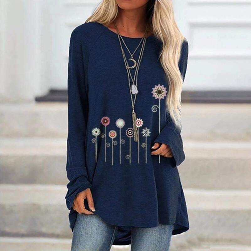 Blusas Mujer De Moda 2019 Cotton Flowers Printed Women's Blouse Casual Loose S-5XL Plus Size Tunic Long Sleeve Blouse Women