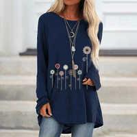 Blusas Mujer De Moda 2019 Baumwolle Blumen Gedruckt frauen Bluse Beiläufige Lose S-5XL Plus Größe Tunika Langarm Bluse frauen