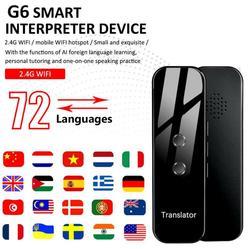 Tradutor de voz inteligente portátil g6 em dois sentidos em tempo real 70 tradução multilíngue para aprender a viajar reunião de negócios